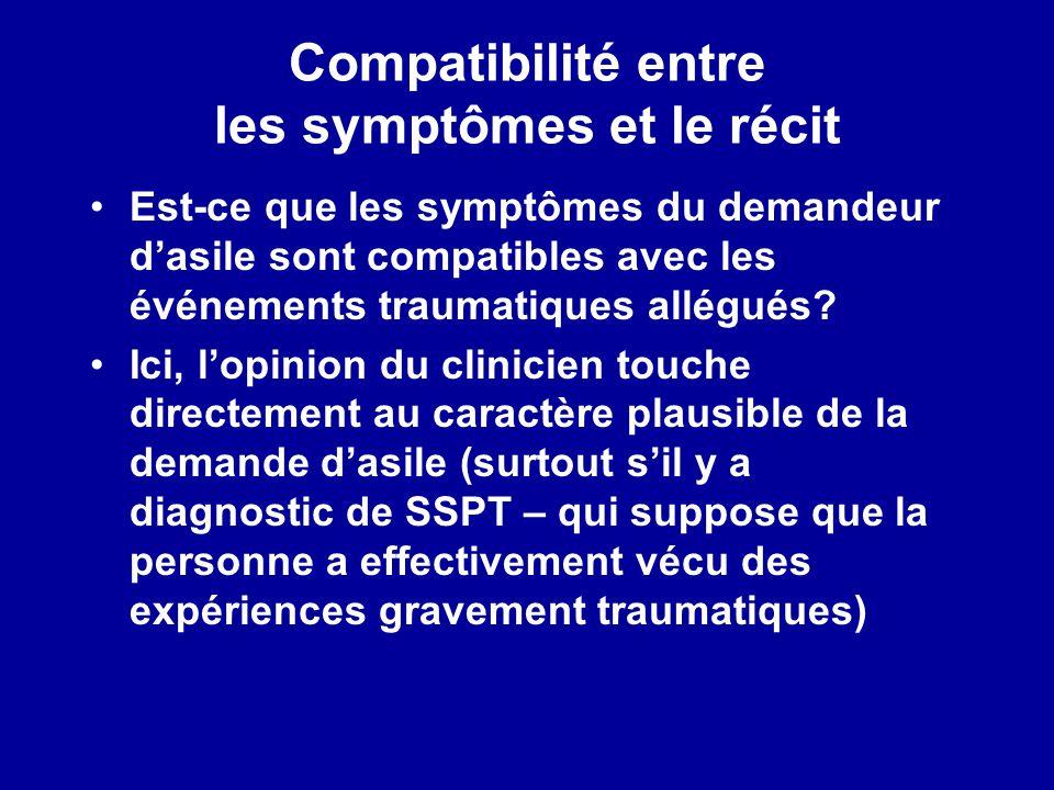 Compatibilité entre les symptômes et le récit Est-ce que les symptômes du demandeur dasile sont compatibles avec les événements traumatiques allégués?