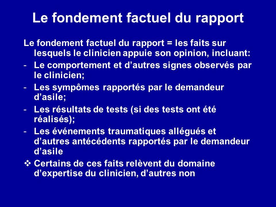Le fondement factuel du rapport Le fondement factuel du rapport = les faits sur lesquels le clinicien appuie son opinion, incluant: -Le comportement e
