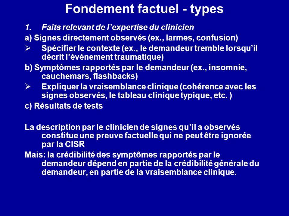 Fondement factuel - types 1.Faits relevant de lexpertise du clinicien a) Signes directement observés (ex., larmes, confusion) Spécifier le contexte (e