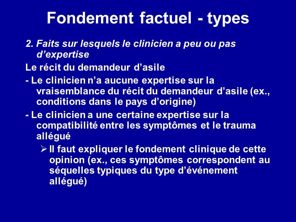 Fondement factuel - types 2. Faits sur lesquels le clinicien a peu ou pas dexpertise Le récit du demandeur dasile - Le clinicien na aucune expertise s