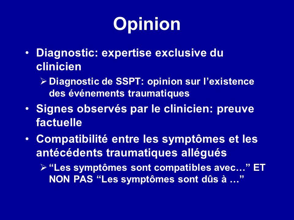 Opinion Diagnostic: expertise exclusive du clinicien Diagnostic de SSPT: opinion sur lexistence des événements traumatiques Signes observés par le cli