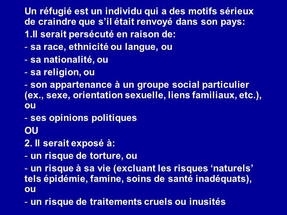 Un réfugié est un individu qui a des motifs sérieux de craindre que sil était renvoyé dans son pays: 1.Il serait persécuté en raison de: - sa race, et