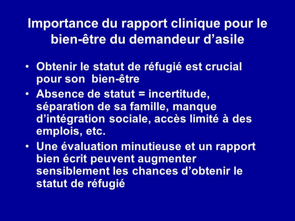 Importance du rapport clinique pour le bien-être du demandeur dasile Obtenir le statut de réfugié est crucial pour son bien-être Absence de statut = i
