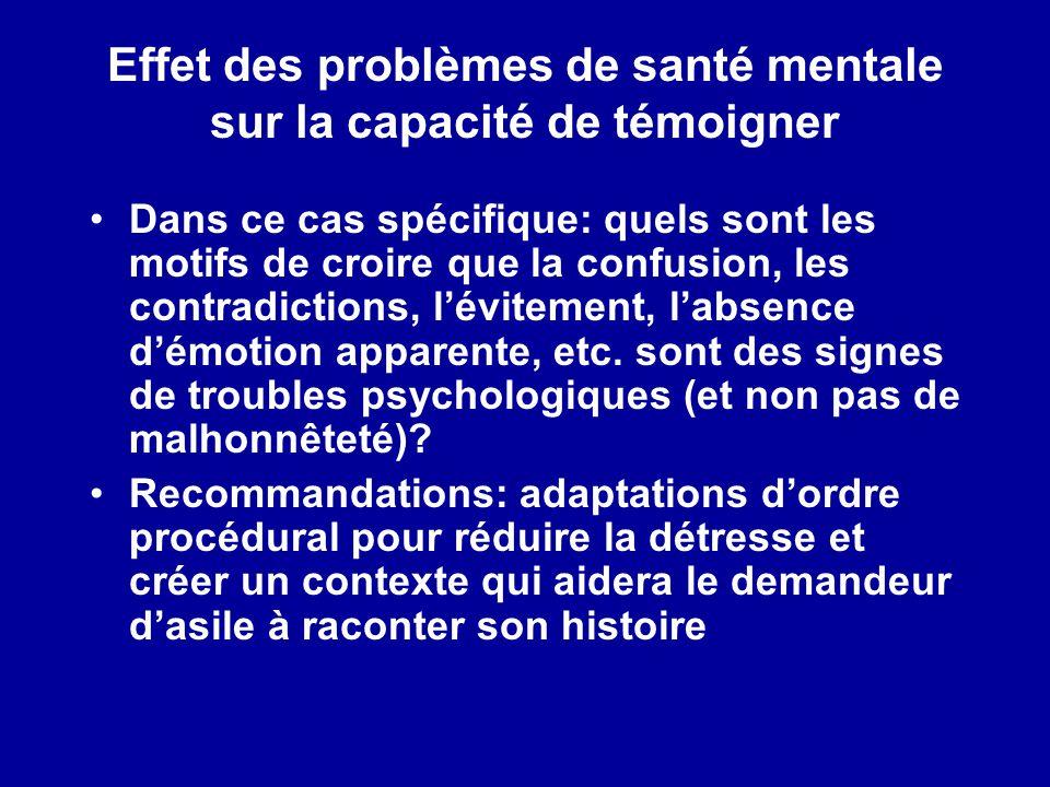 Effet des problèmes de santé mentale sur la capacité de témoigner Dans ce cas spécifique: quels sont les motifs de croire que la confusion, les contra