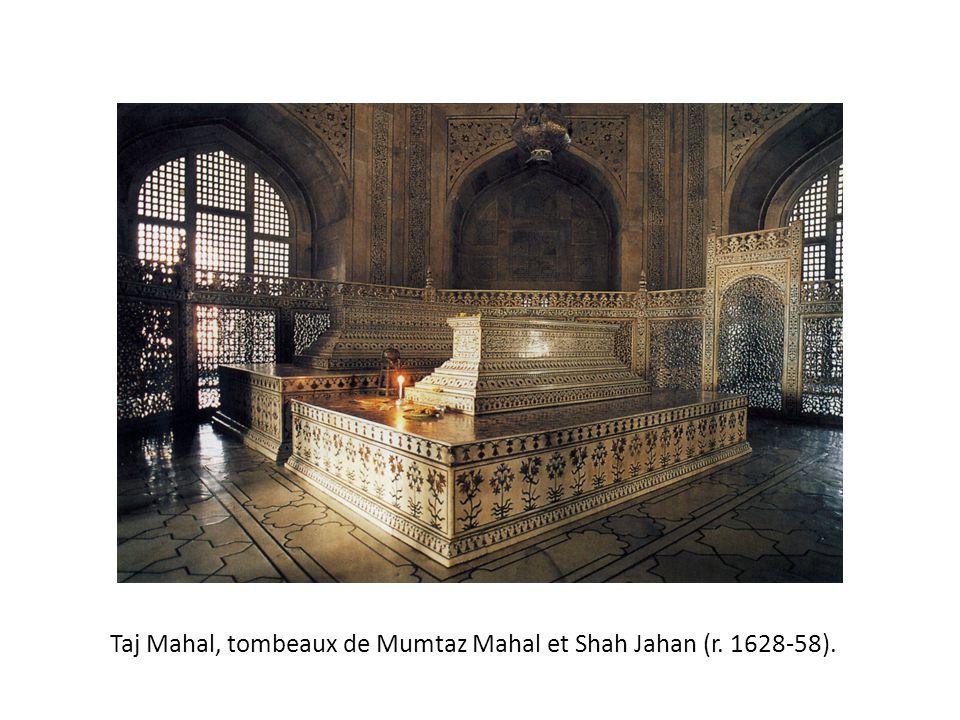 Taj Mahal, tombeaux de Mumtaz Mahal et Shah Jahan (r. 1628-58).