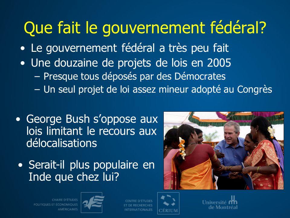Que fait le gouvernement fédéral.