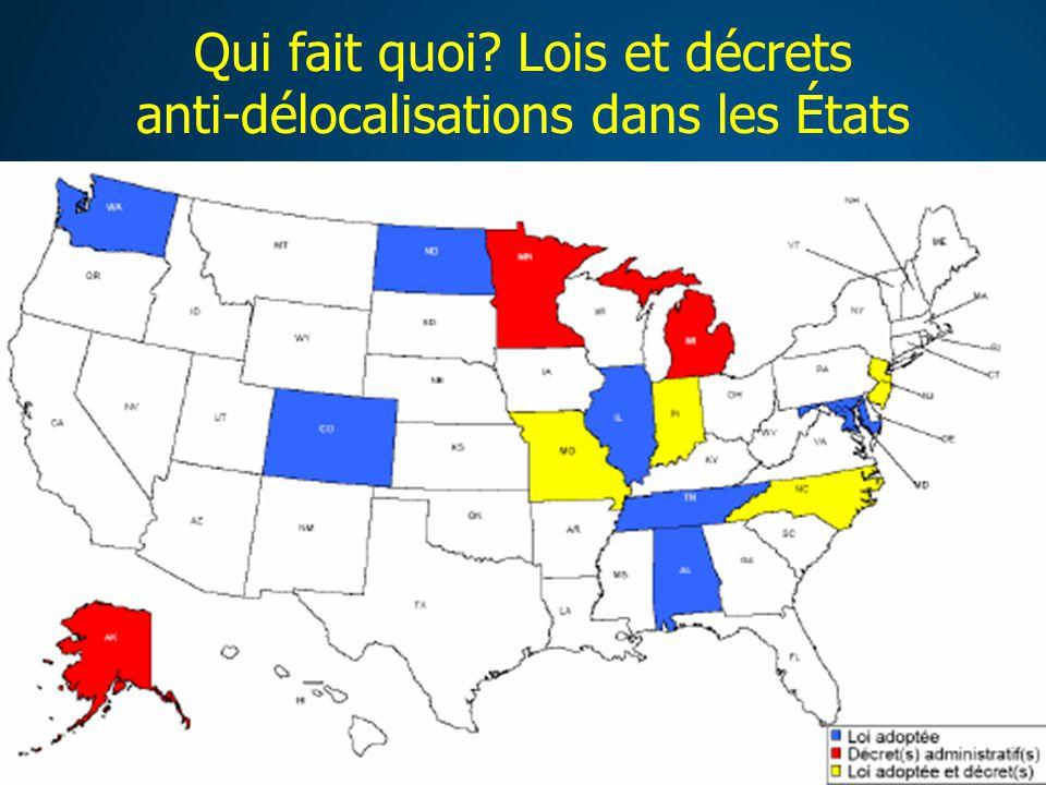 Qui fait quoi Lois et décrets anti-délocalisations dans les États