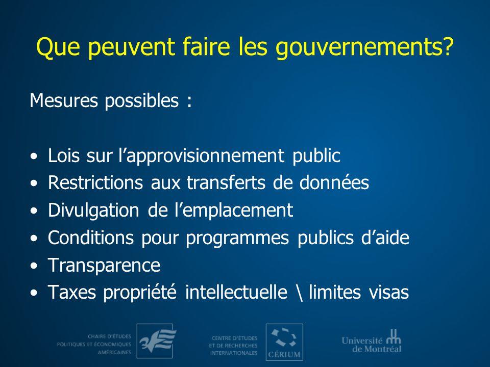 Que peuvent faire les gouvernements.