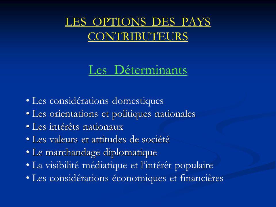 LES OPTIONS DES PAYS CONTRIBUTEURS Les Déterminants Les considérations domestiques Les orientations et politiques nationales Les orientations et polit