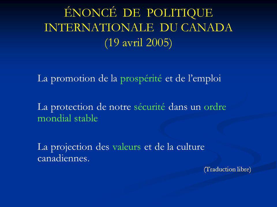 ÉNONCÉ DE POLITIQUE INTERNATIONALE DU CANADA (19 avril 2005) La promotion de la prospérité et de lemploi La protection de notre sécurité dans un ordre mondial stable La projection des valeurs et de la culture canadiennes.