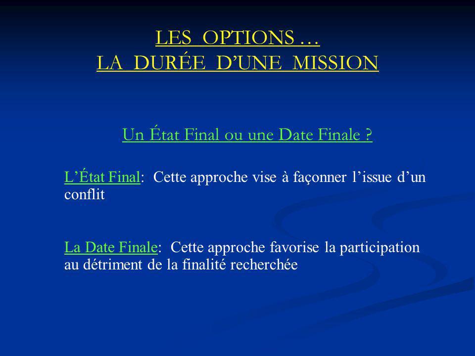 LES OPTIONS … LA DURÉE DUNE MISSION Un État Final ou une Date Finale .