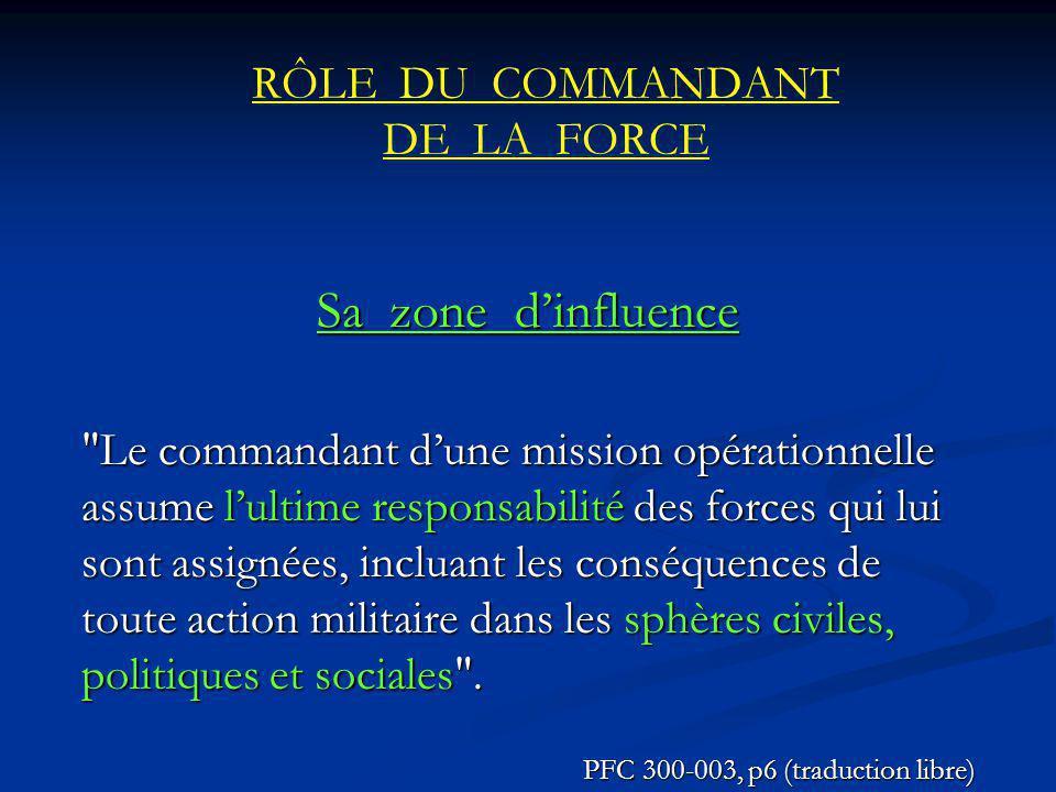 RÔLE DU COMMANDANT DE LA FORCE Sa zone dinfluence Le commandant dune mission opérationnelle assume lultime responsabilité des forces qui lui sont assignées, incluant les conséquences de toute action militaire dans les sphères civiles, politiques et sociales .