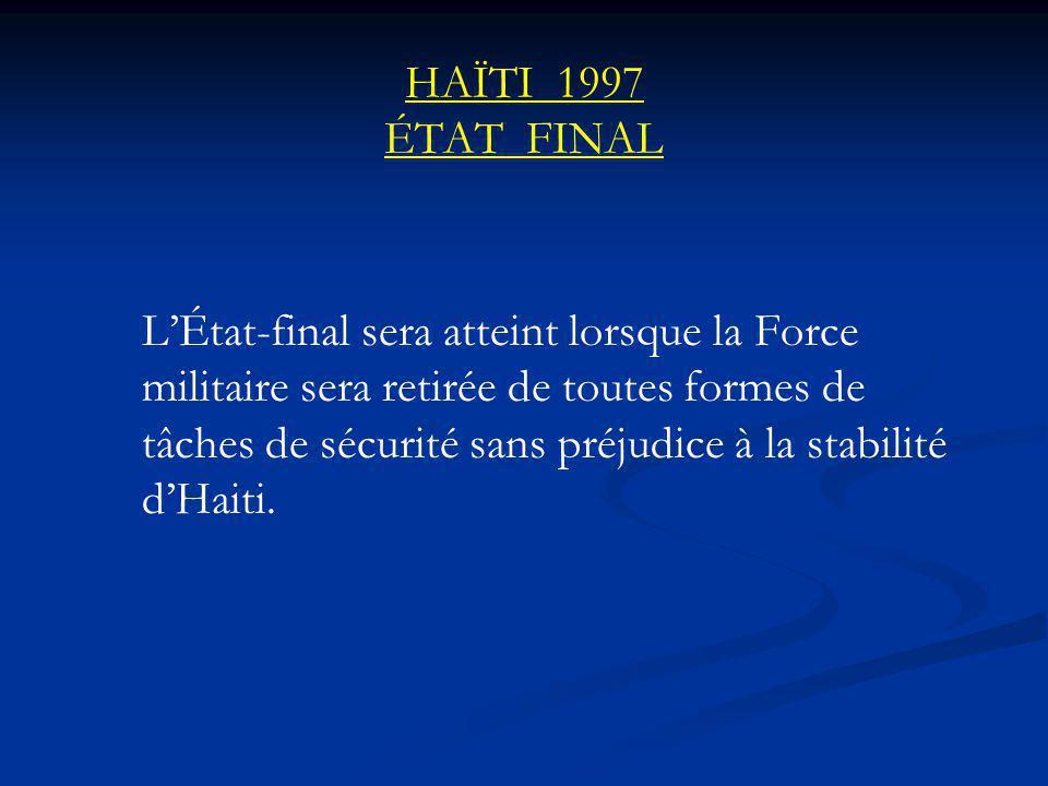 HAÏTI 1997 ÉTAT FINAL LÉtat-final sera atteint lorsque la Force militaire sera retirée de toutes formes de tâches de sécurité sans préjudice à la stabilité dHaiti.