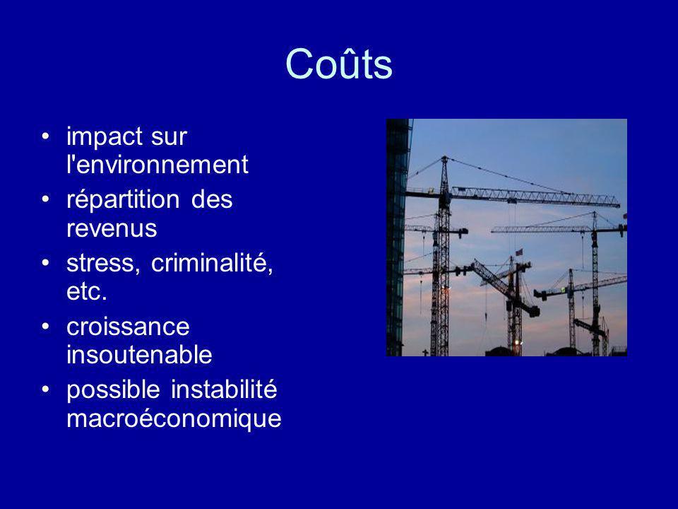 Coûts impact sur l'environnement répartition des revenus stress, criminalité, etc. croissance insoutenable possible instabilité macroéconomique