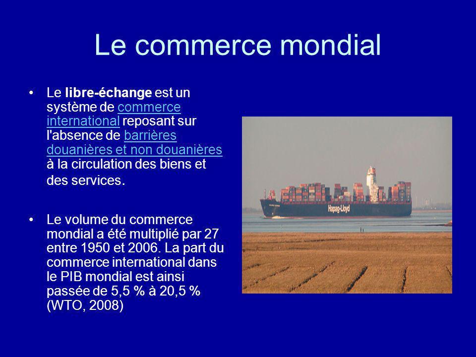 Le commerce mondial Le libre-échange est un système de commerce international reposant sur l'absence de barrières douanières et non douanières à la ci