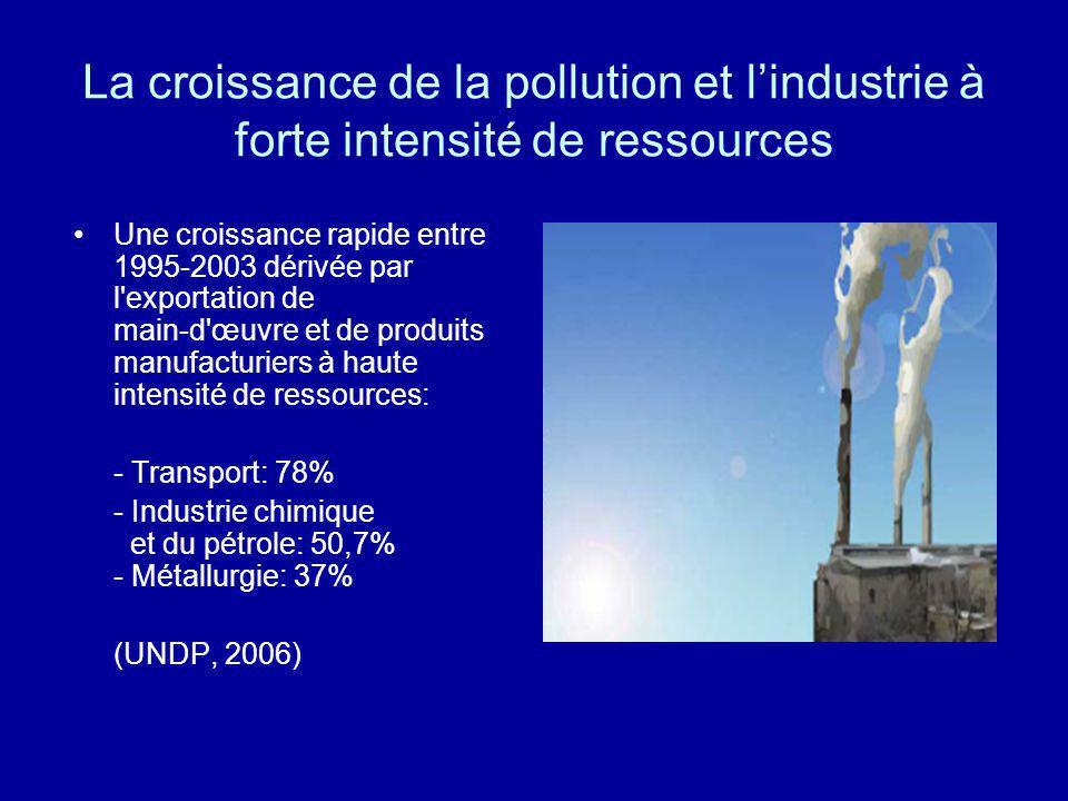 La croissance de la pollution et lindustrie à forte intensité de ressources Une croissance rapide entre 1995-2003 dérivée par l'exportation de main-d'