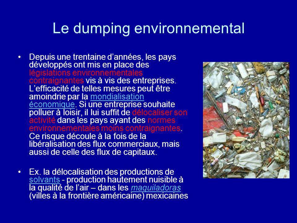 Le dumping environnemental Depuis une trentaine dannées, les pays développés ont mis en place des législations environnementales contraignantes vis à