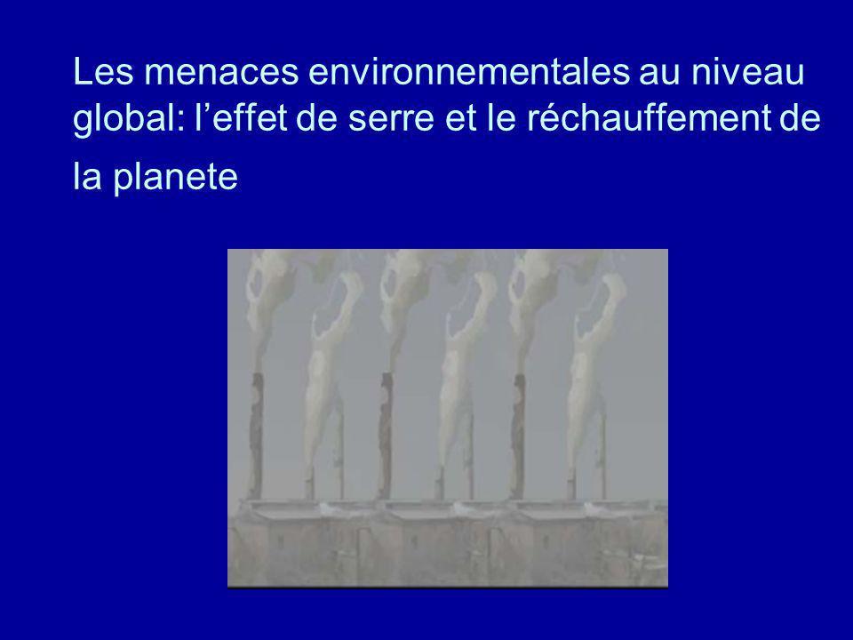 Les menaces environnementales au niveau global: leffet de serre et le réchauffement de la planete