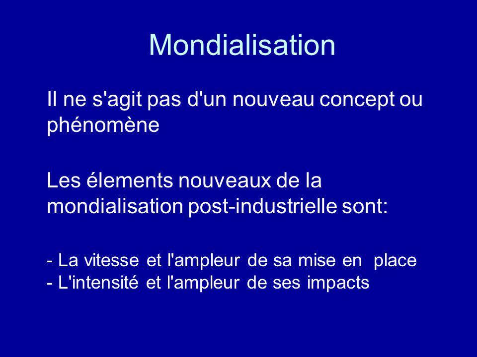 Mondialisation Il ne s'agit pas d'un nouveau concept ou phénomène Les élements nouveaux de la mondialisation post-industrielle sont: - La vitesse et l