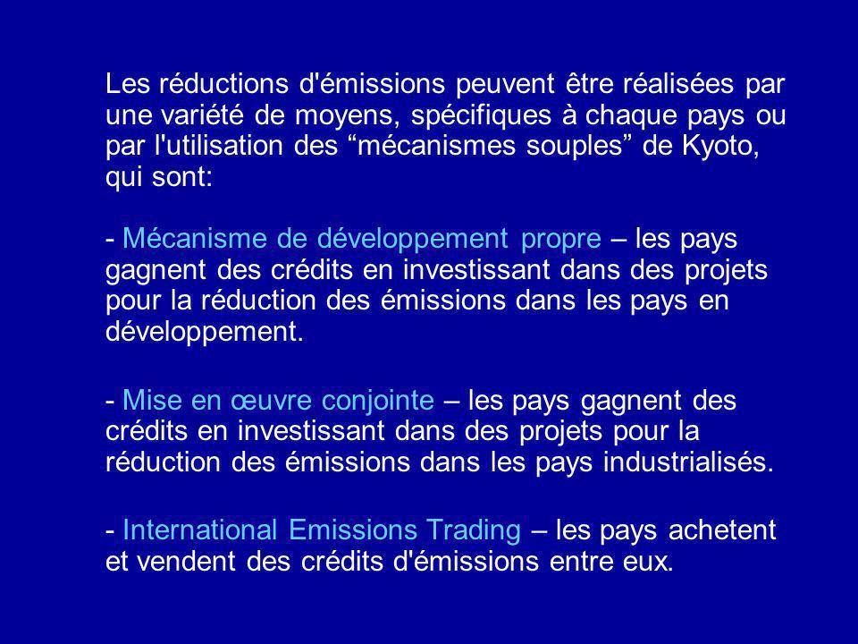 Les réductions d'émissions peuvent être réalisées par une variété de moyens, spécifiques à chaque pays ou par l'utilisation des mécanismes souples de