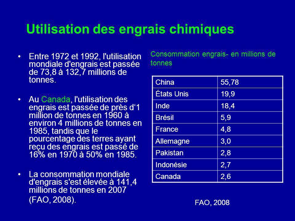 Utilisation des engrais chimiques Entre 1972 et 1992, l'utilisation mondiale d'engrais est passée de 73,8 à 132,7 millions de tonnes. Au Canada, l'uti
