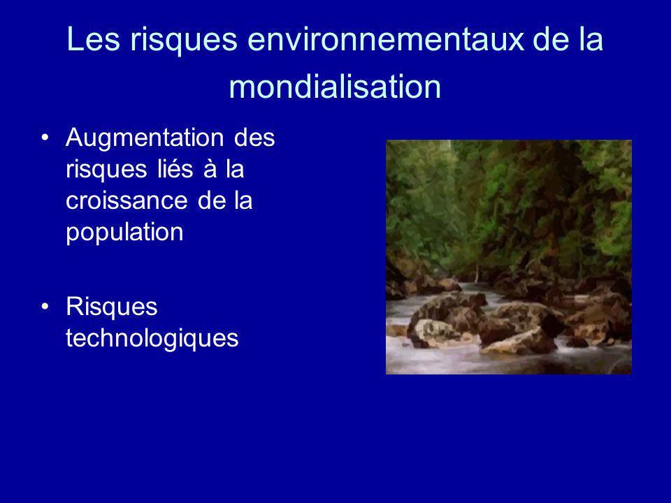 Les risques environnementaux de la mondialisation Augmentation des risques liés à la croissance de la population Risques technologiques