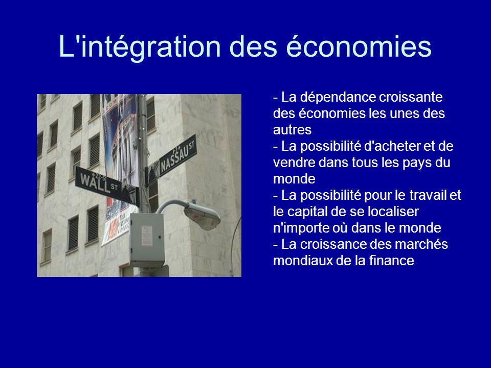 L intégration des économies Rendu possible par: - technologie - réseaux de communication - accès à Internet - croissance de la coopération économique - des blocs commerciaux (UE, NAFTA, etc) - traités internationaux de libre-échange