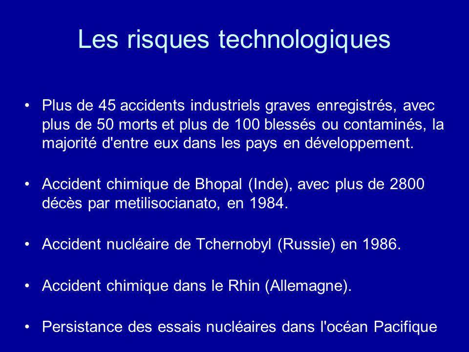 Les risques technologiques Plus de 45 accidents industriels graves enregistrés, avec plus de 50 morts et plus de 100 blessés ou contaminés, la majorit