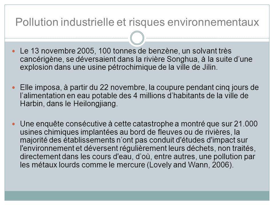 Pollution industrielle et risques environnementaux Le 13 novembre 2005, 100 tonnes de benzène, un solvant très cancérigène, se déversaient dans la riv