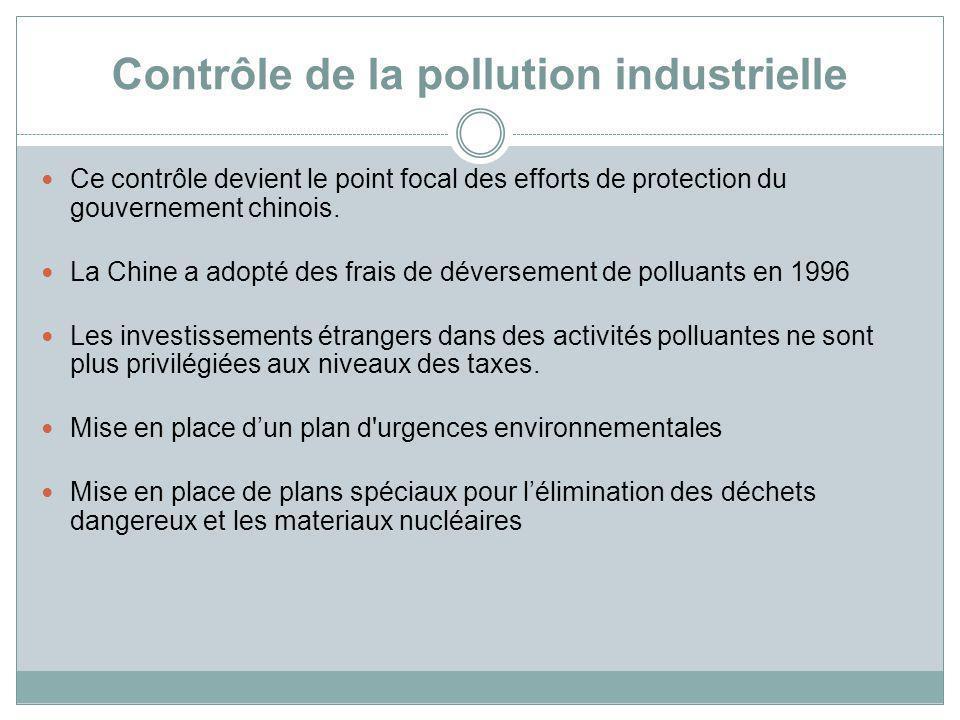 Contrôle de la pollution industrielle Ce contrôle devient le point focal des efforts de protection du gouvernement chinois. La Chine a adopté des frai