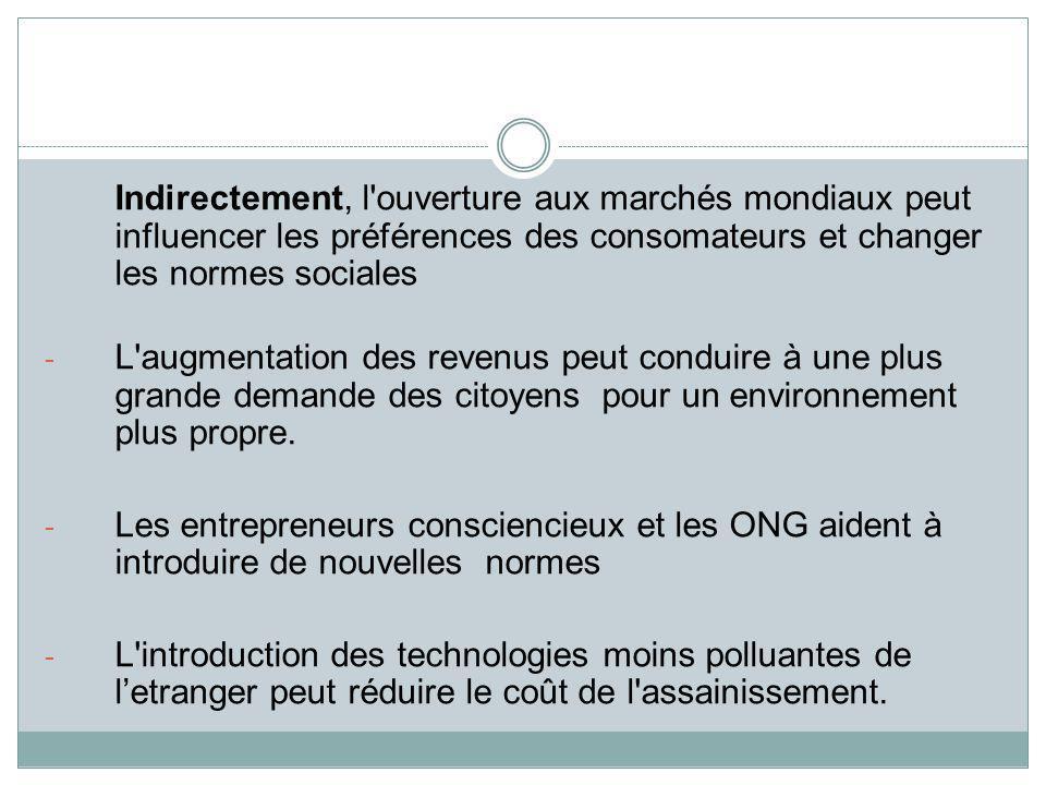 Indirectement, l'ouverture aux marchés mondiaux peut influencer les préférences des consomateurs et changer les normes sociales - L'augmentation des r