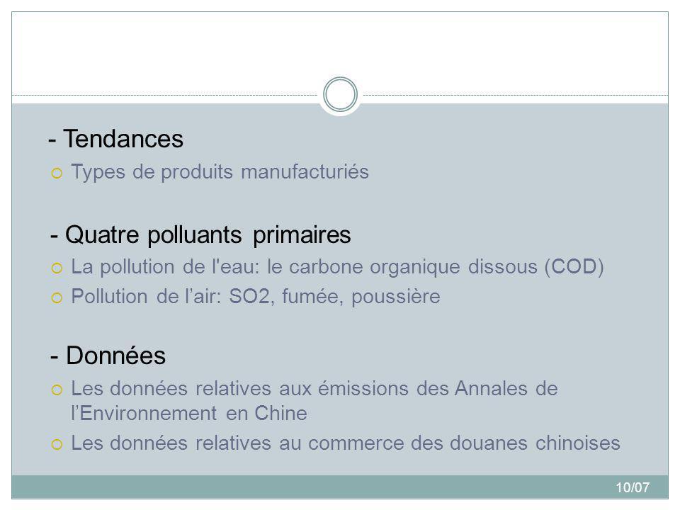 10/07 - Tendances Types de produits manufacturiés - Quatre polluants primaires La pollution de l'eau: le carbone organique dissous (COD) Pollution de