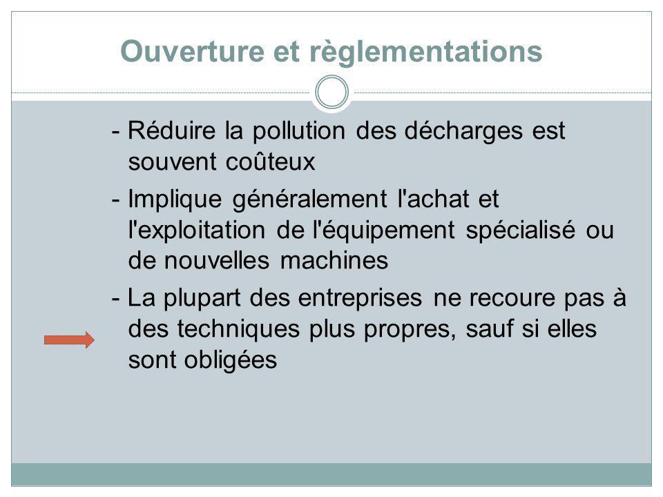 Ouverture et règlementations - Réduire la pollution des décharges est souvent coûteux - Implique généralement l'achat et l'exploitation de l'équipemen