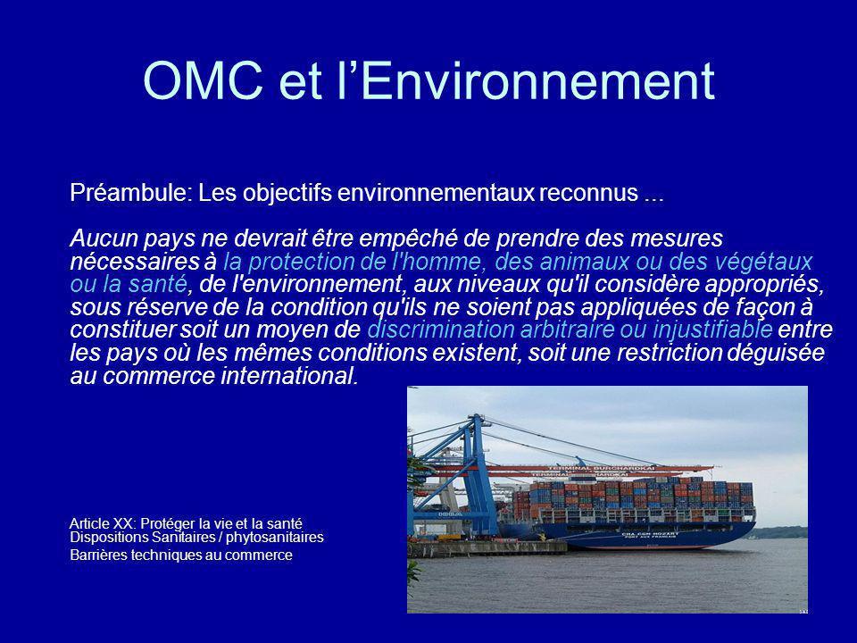 OMC et lEnvironnement Préambule: Les objectifs environnementaux reconnus... Aucun pays ne devrait être empêché de prendre des mesures nécessaires à la