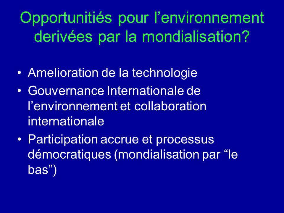 Opportunitiés pour lenvironnement derivées par la mondialisation? Amelioration de la technologie Gouvernance Internationale de lenvironnement et colla