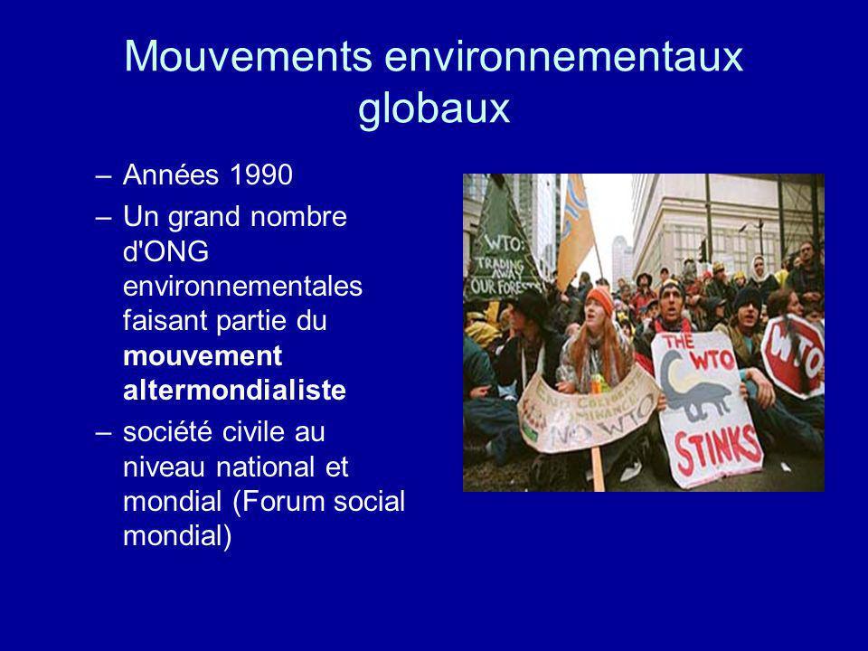 Mouvements environnementaux globaux –Années 1990 –Un grand nombre d'ONG environnementales faisant partie du mouvement altermondialiste –société civile