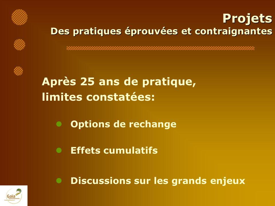 Après 25 ans de pratique, limites constatées: Options de rechange Effets cumulatifs Discussions sur les grands enjeux Projets Des pratiques éprouvées