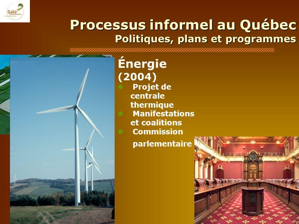 Processus informel au Québec Politiques, plans et programmes Énergie (2004) Projet de centrale thermique Manifestations et coalitions Commission parle