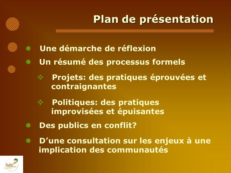 Plan de présentation Une démarche de réflexion Un résumé des processus formels Projets: des pratiques éprouvées et contraignantes Politiques: des prat