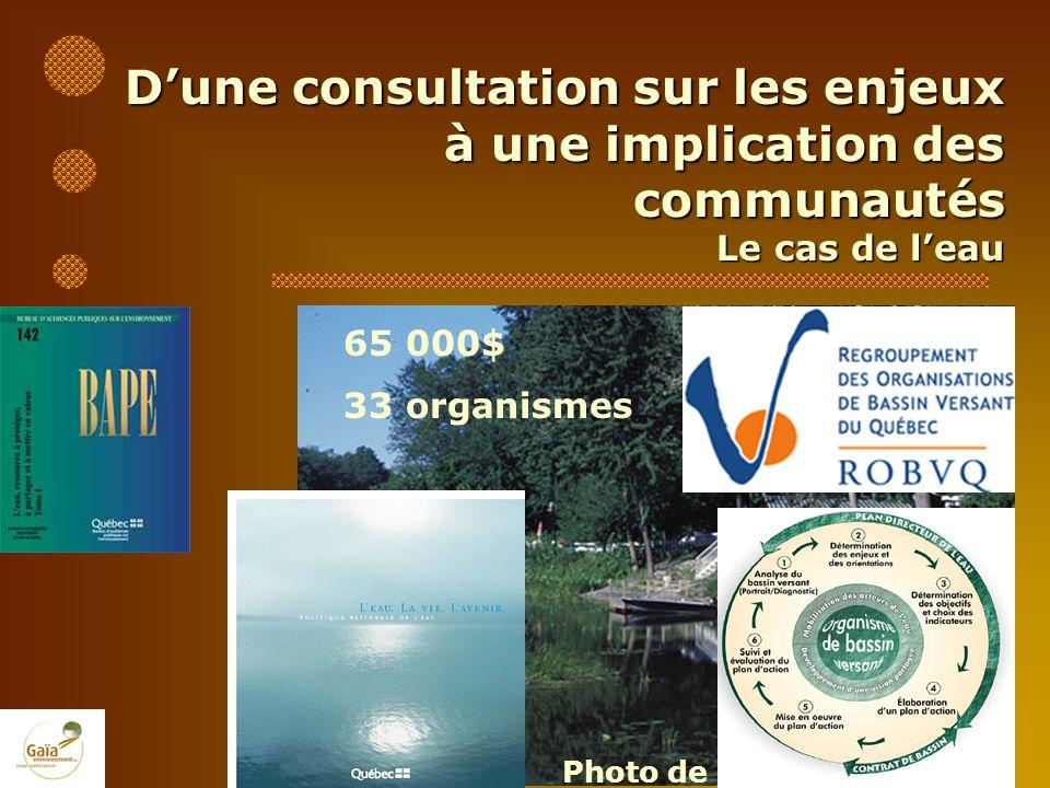 Dune consultation sur les enjeux à une implication des communautés Le cas de leau Photo de Michel Leblond 65 000$ 33 organismes