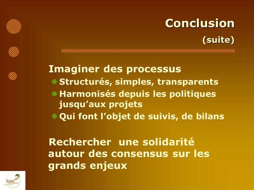 Conclusion(suite) Imaginer des processus Structurés, simples, transparents Harmonisés depuis les politiques jusquaux projets Qui font lobjet de suivis