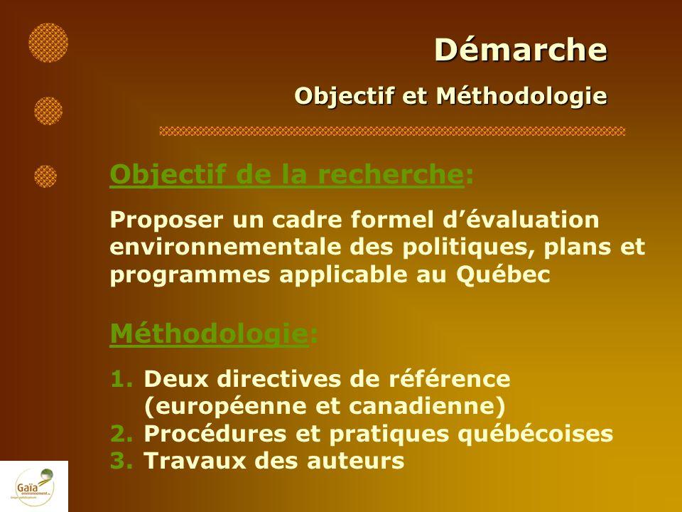 Démarche Objectif et Méthodologie Objectif de la recherche: Proposer un cadre formel dévaluation environnementale des politiques, plans et programmes