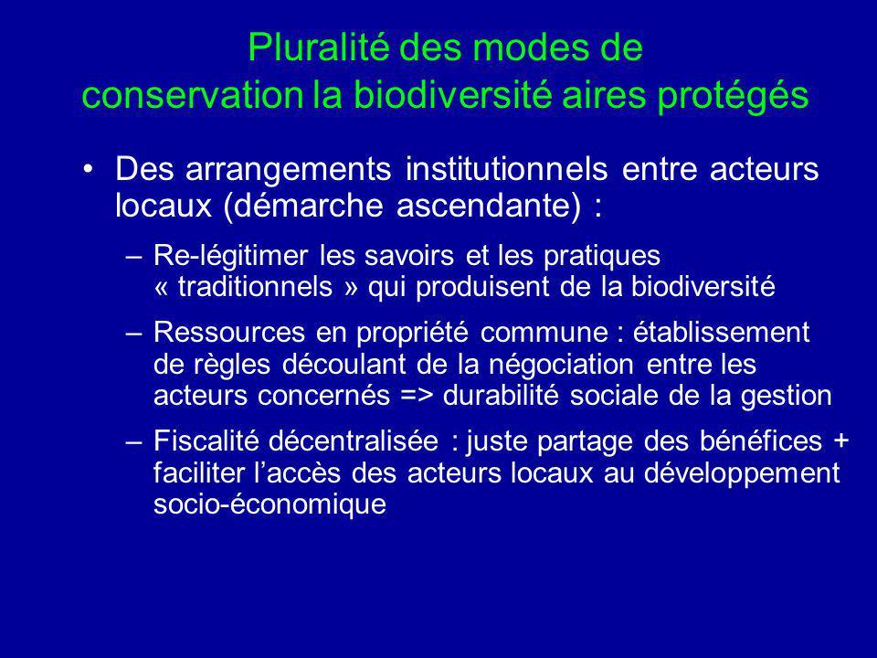 Pluralité des modes de conservation la biodiversité aires protégés Des arrangements institutionnels entre acteurs locaux (démarche ascendante) : –Re-l