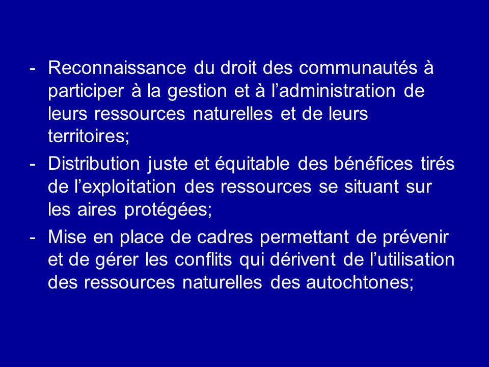 -Reconnaissance du droit des communautés à participer à la gestion et à ladministration de leurs ressources naturelles et de leurs territoires; -Distr