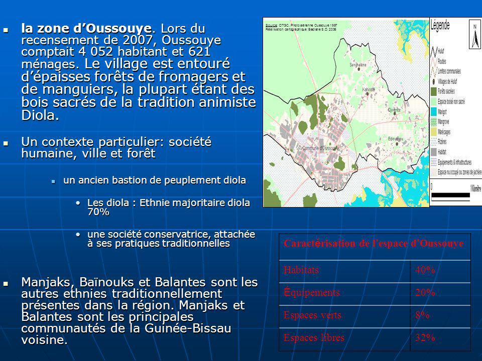 la zone dOussouye. Lors du recensement de 2007, Oussouye comptait 4 052 habitant et 621 ménages. Le village est entouré dépaisses forêts de fromagers