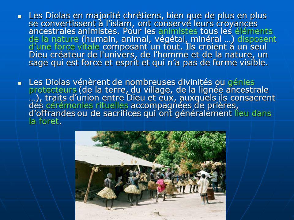 Les Diolas en majorité chrétiens, bien que de plus en plus se convertissent à l'islam, ont conservé leurs croyances ancestrales animistes. Pour les an