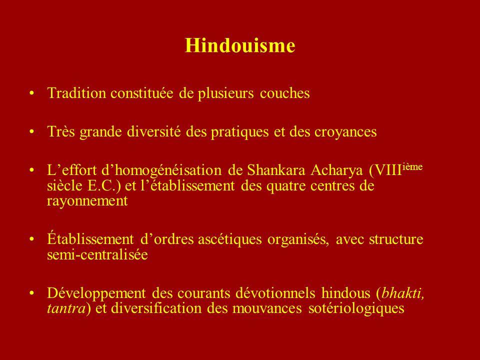 Hindouisme Tradition constituée de plusieurs couches Très grande diversité des pratiques et des croyances Leffort dhomogénéisation de Shankara Acharya