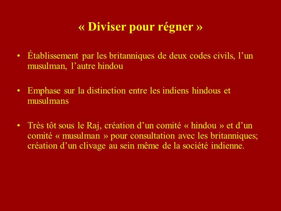 « Diviser pour régner » Établissement par les britanniques de deux codes civils, lun musulman, lautre hindou Emphase sur la distinction entre les indi
