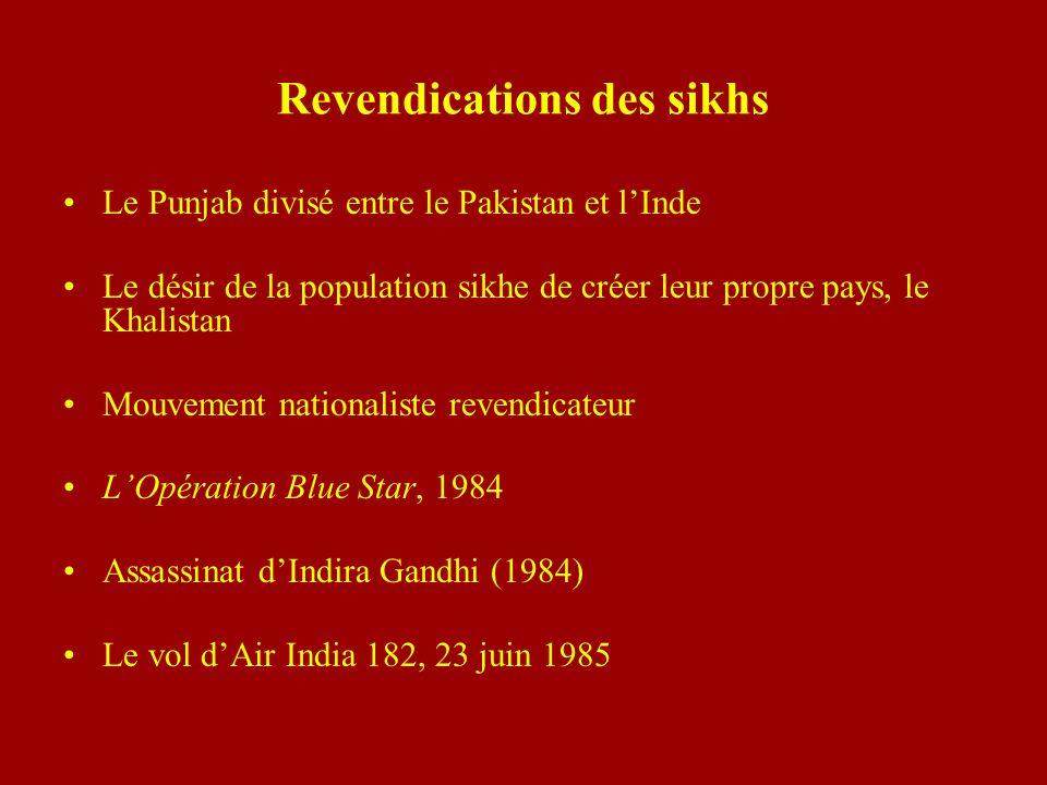 Revendications des sikhs Le Punjab divisé entre le Pakistan et lInde Le désir de la population sikhe de créer leur propre pays, le Khalistan Mouvement