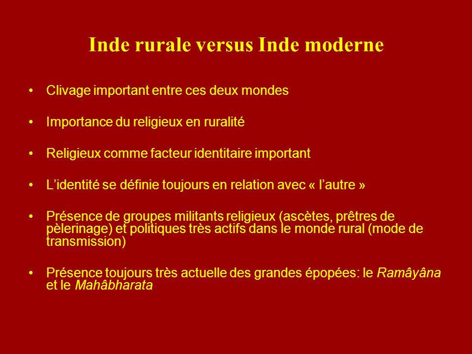 Inde rurale versus Inde moderne Clivage important entre ces deux mondes Importance du religieux en ruralité Religieux comme facteur identitaire import